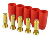 Goldkontakt 7 mm Stecker m. Hülse rot m. Anti-Spark Technologie