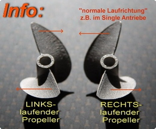Alu Propeller Hydro 42 mm mit Dog Drive 3-Blatt -RTR-