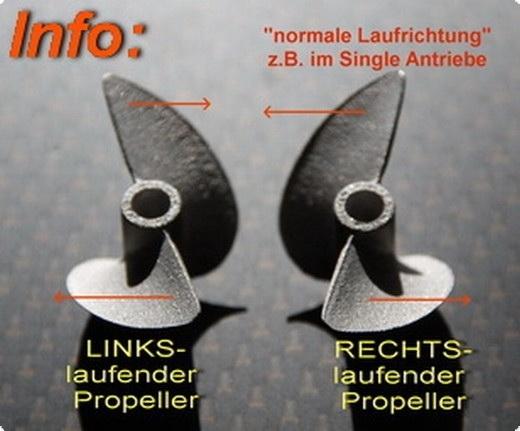 Alu Propeller Hydro 40 mm mit Dog Drive 3-Blatt -RTR-
