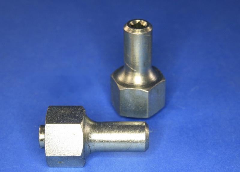 Kupplung Stahl M8 - mit Vierkant f. 6,3 Flexwelle  - Abverkauf -
