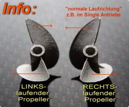 Propeller JR C-Serie DD 76 mm links mit 6,3 mm Wellenschaft