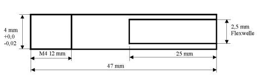 Ersatzflexwelle 2,5li. mit 4 mm Welle und M4 Gew. Flexwelle in linkslaufend.