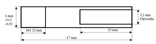 Ersatzflexwelle 3,2 linkslaufend mit 4 mm Welle und M4 Gewinde