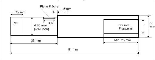Ersatzflexwelle 3,2li. mit 5mm Welle und 4,7 DD Flexwelle in linkslaufend.