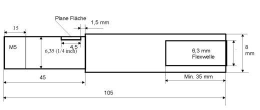 Ersatzflexwelle 6,3 mit 8 mm Welle und 6,3 DD